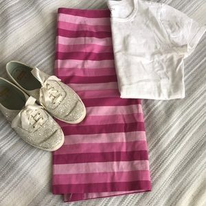 Stripped pink pencil skirt